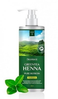 Шампунь с хной и зеленым чаем DEOPROCE Shampoo greentea henna pure refresh 1000мл
